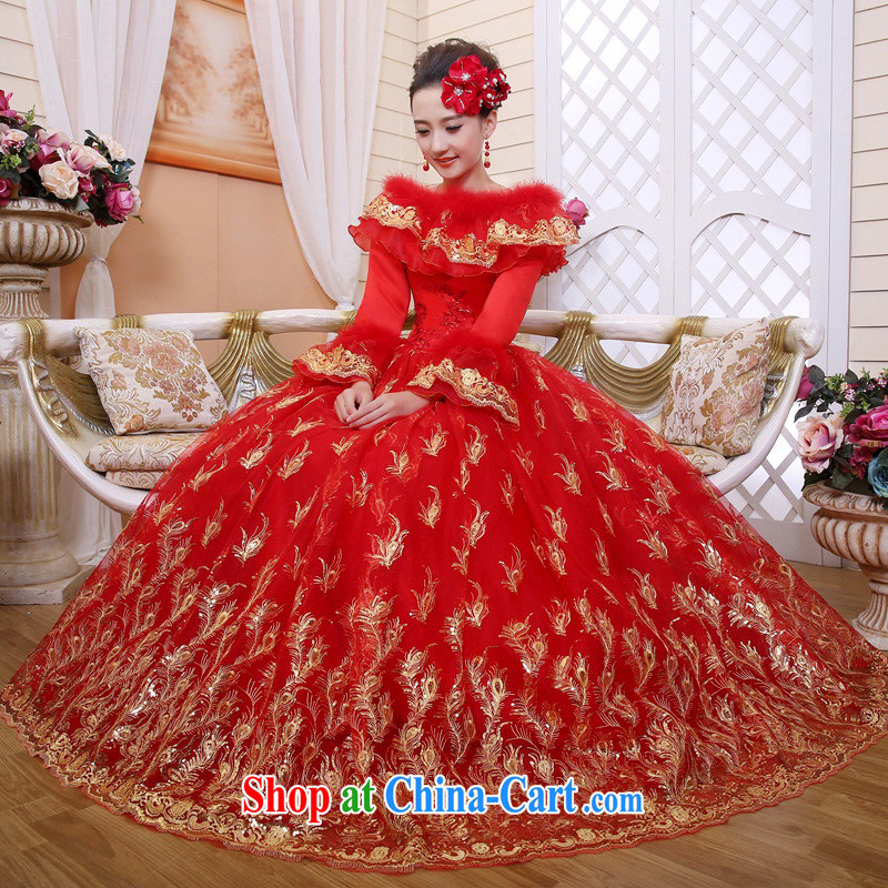 2014 new winter, red wedding dresses cotton winter the Field shoulder alignment, long-sleeved wedding dresses Korean wedding lace Customer to size the Do not be returned.