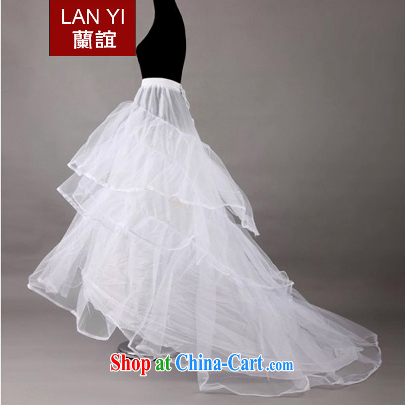 Friends, new tail wedding dress party bridal wedding dress stays long-tail, two-story steel ring white