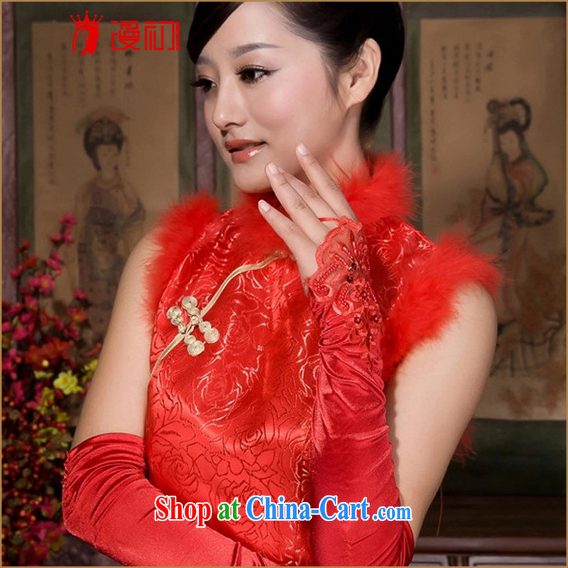 Early definition lace terrace to dress accessories gloves bridal gloves red long wedding accessories red