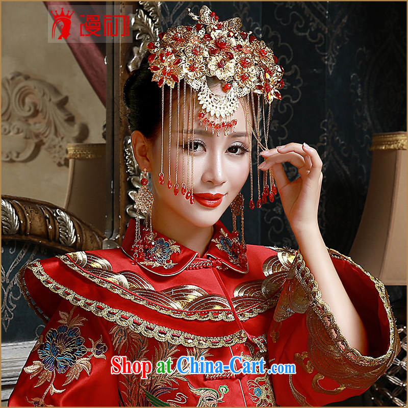 Early definition 2015 new head-dress bridal classic show reel service and use dragon with Bong-crown ancient hair accessories earrings gold and jewelry earrings