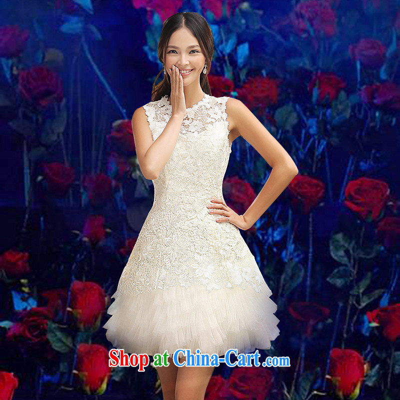 Evening Dress short summer 2015 new bridesmaid clothing spring dresses bridal toast serving small dress, sister skirt moderator Ms. service performance contracting marriage birthday clothing white M