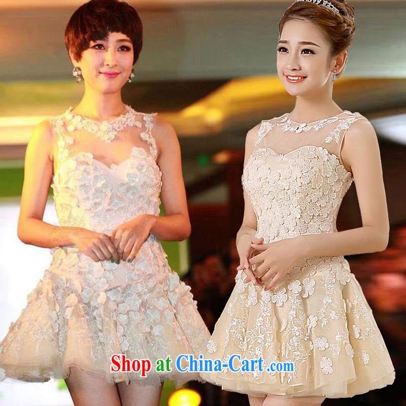 2015 new spring and summer bridesmaid clothing dresses stylish small dress bridesmaid's sister dress flower dress short service performance moderator dress girls the betrothal service champagne color XL