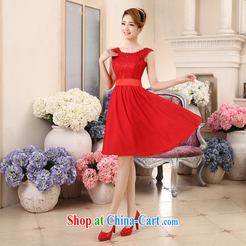 wedding dresses new 2015 summer bridesmaid dress high waist pregnant small dress Red double-shoulder dress short, large, thick MM bridal dresses serving toast red XL