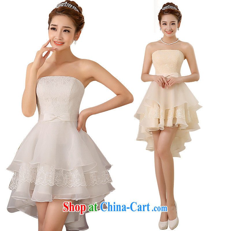 bridesmaid dress 2015 new small dress short bridal toast wiped his chest short long dress show the dress moderator dresses birthday banquet dress champagne color XL