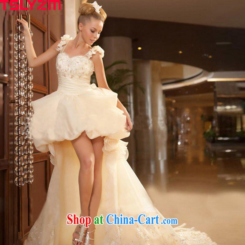 Tslyzm Korean wedding dress short shaggy brides with the Princess, the short, the long-tail wedding dress champagne color XXL