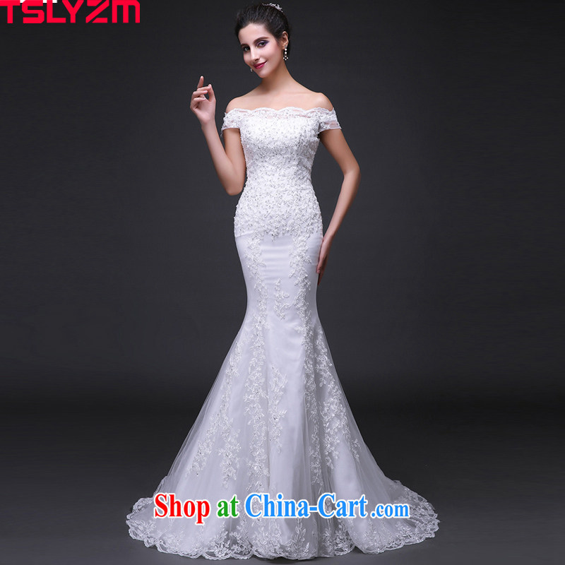 Cultivating Tslyzm crowsfoot wedding lace Korean small-tail skirt summer 2015 new brides white wedding dress white XXL
