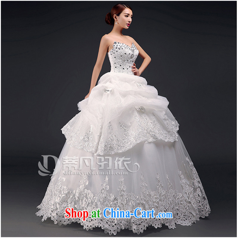 Where, in accordance with feathers wedding dresses new 2015 summer bridal wedding wedding wedding dresses larger pregnant Korean version with graphics thin smears breast beauty parquet drill wedding white XL
