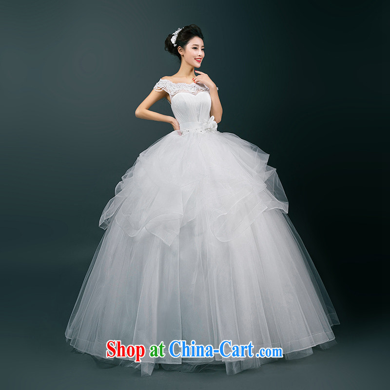 wedding dresses new 2015 summer bride Korean-style wedding dresses one shoulder style with beauty graphics thin wedding, Ms. WHITE L