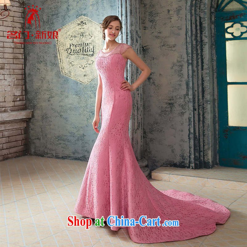 The bride's wedding dresses elegant crowsfoot dress peach pink dinner serving small tail lace 423 pink S