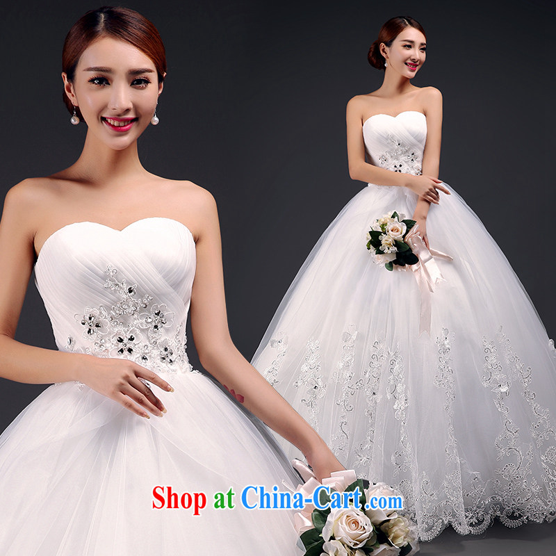 Mr. where Yu according to erase chest wedding dresses 2015 new stylish with wedding lace inserts drill with bridal wedding white XL