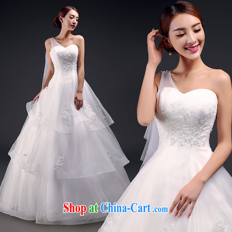 Mr. where Yu according to the shoulder wedding 2015 new Korean Beauty lace bare chest wedding with stylish strap white XL