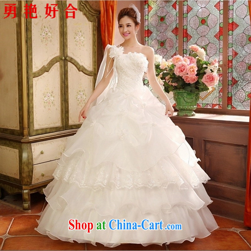Yong-yan and 2015 fall and winter new wedding dresses and stylish Korean-style single shoulder to align the code thick MM graphics thin tail wedding winter white-tail M, Yong-yan good offices, shopping on the Internet