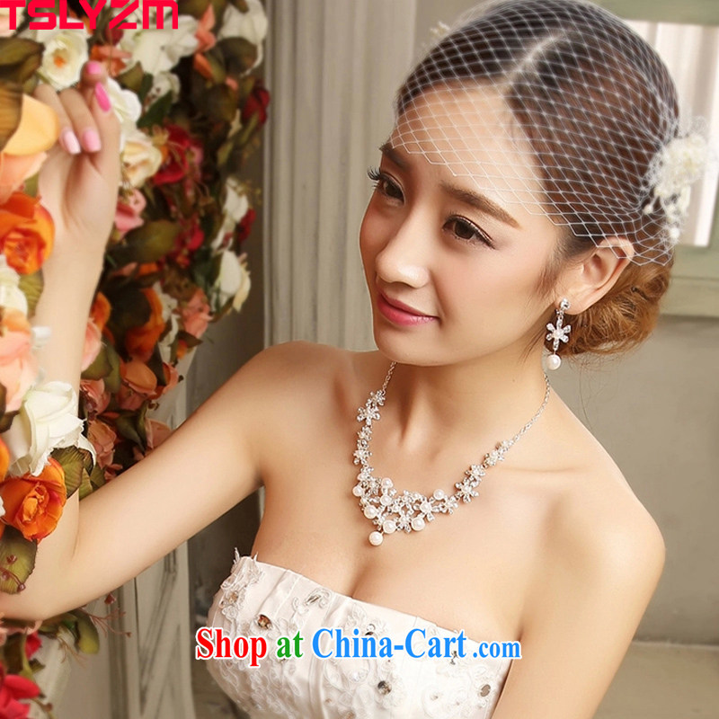 Tslyzm bridal tiaras necklace earrings 2-Piece Korean Pearl hair accessories wedding jewelry jewelry Kit 2015 new spring and summer white