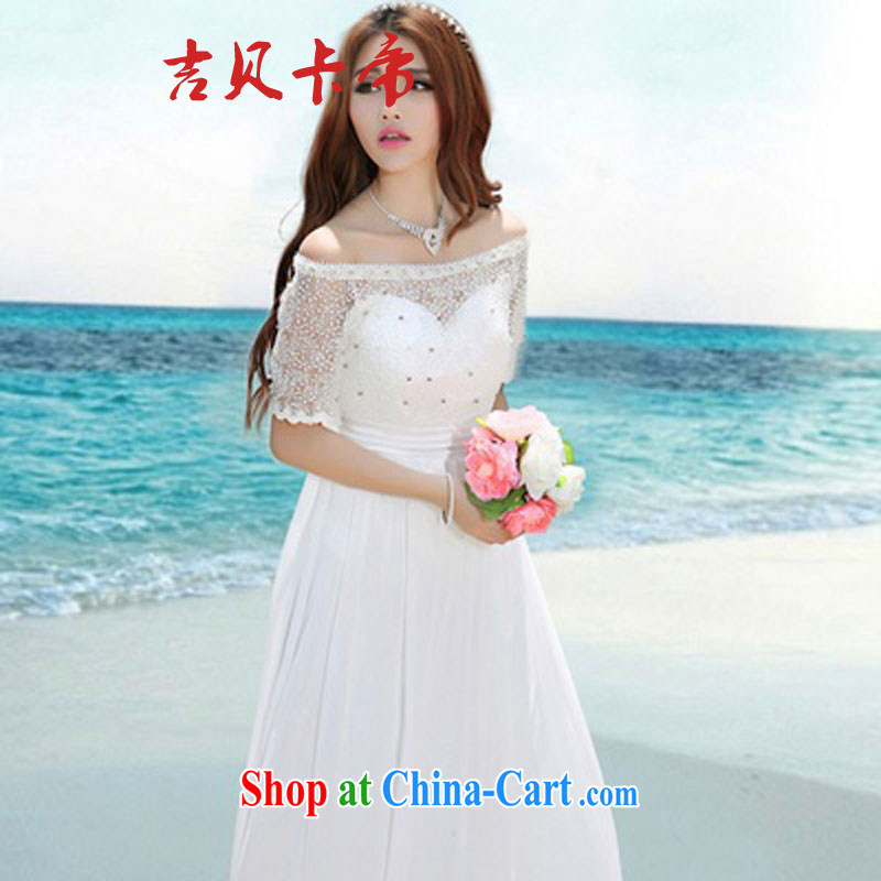 The Bekaa in Dili 8016 #Korea Maldives beach dress wedding nails Pearl inserts drill dress long dress white XL