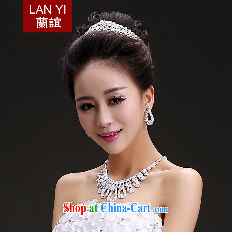 Friends, bridal wedding dresses accessories bridal headdress Crown necklace earrings 3-Piece Korean water drilling bridal jewelry necklaces earrings