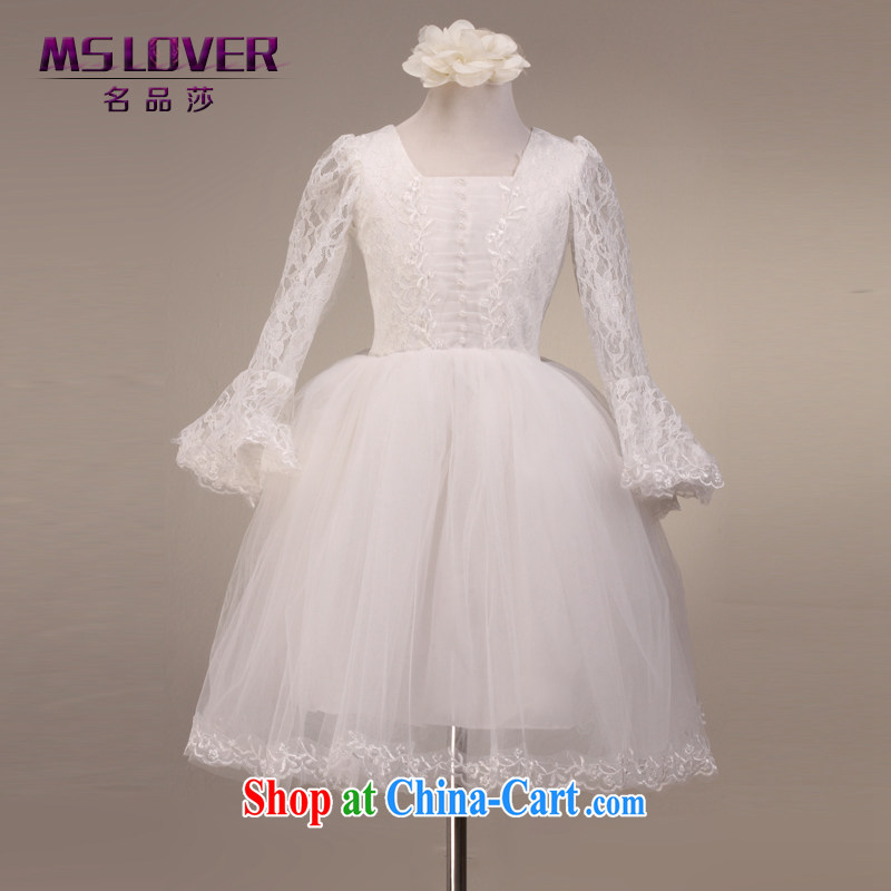 MSLover horn long-sleeved shaggy skirts girls Princess dress children show dress flower dress FD 201211002 white 8