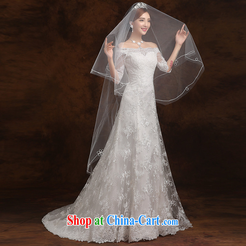 Wei Qi 2015 summer bridal wedding dresses wedding dress skirt ivory white cultivating the code a field shoulder small tail long-sleeved Princess Mary Magdalene A chest field wedding dress girls ivory white XXL