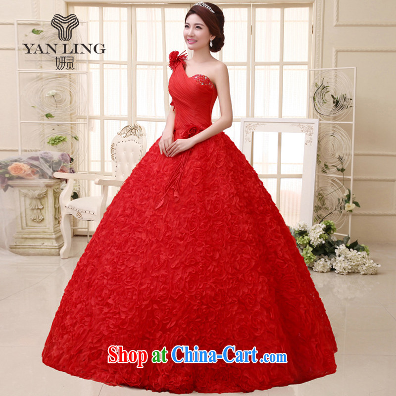 2015 new wedding dresses Korean sweet Princess with bride's single shoulder bare chest wedding HS 291 red S