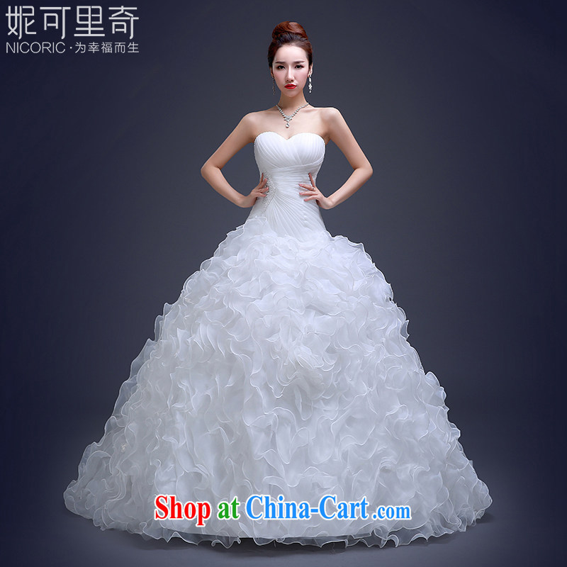wedding dresses new 2015 summer fashion long-tail wiped his chest to Korean-style graphics thin bridal wedding white XXL