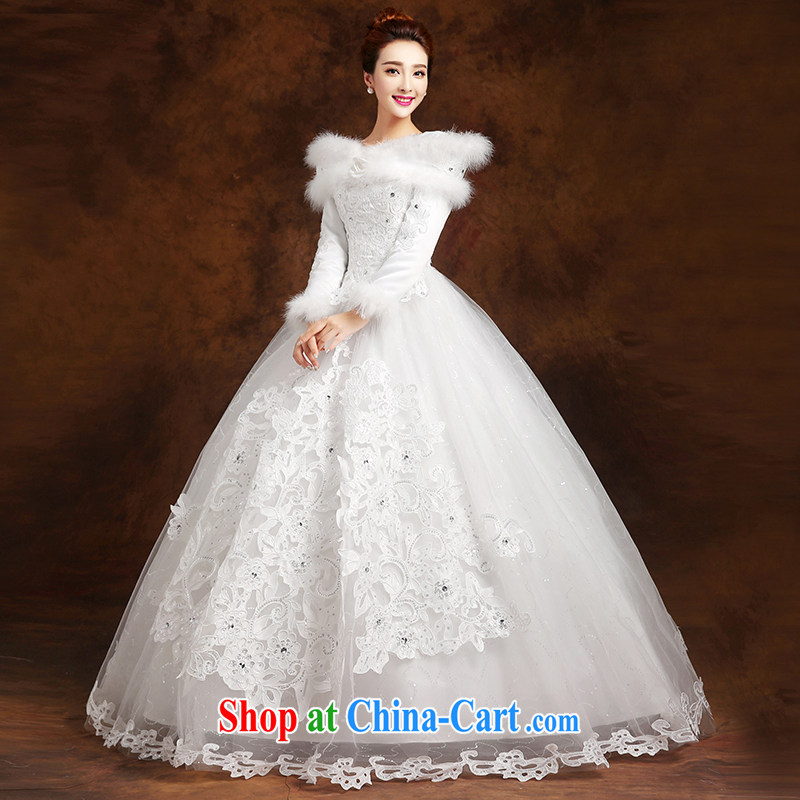 married love wedding dresses 2015 new marriages Korean-style binding with a shoulder long-sleeved warm with thick winter female white XXL