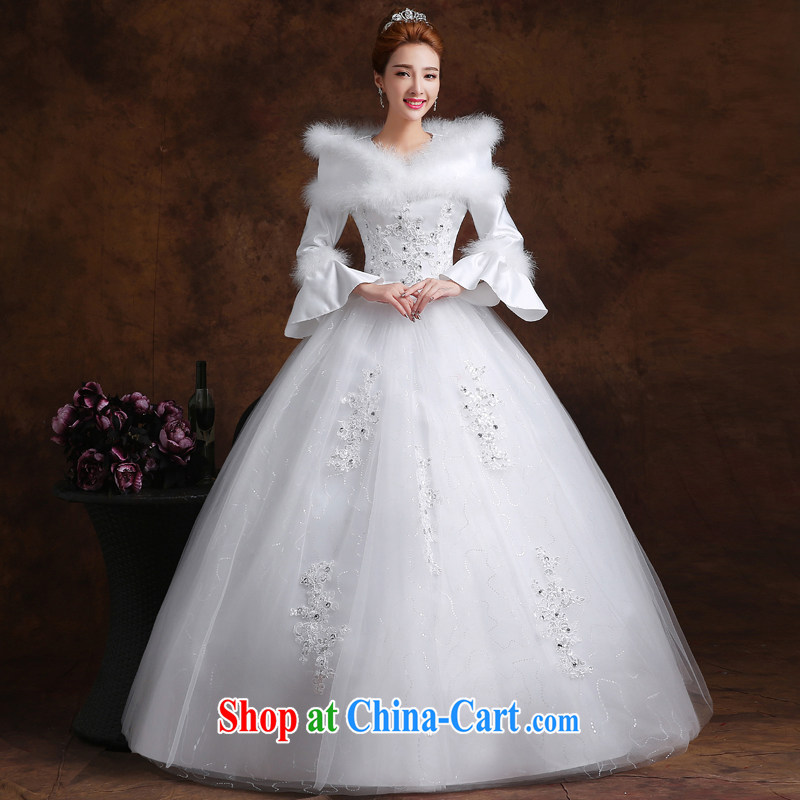 married love wedding dresses 2015 new Korean fashion a Field shoulder long-sleeved With marriages graphics thin large code winter female white L