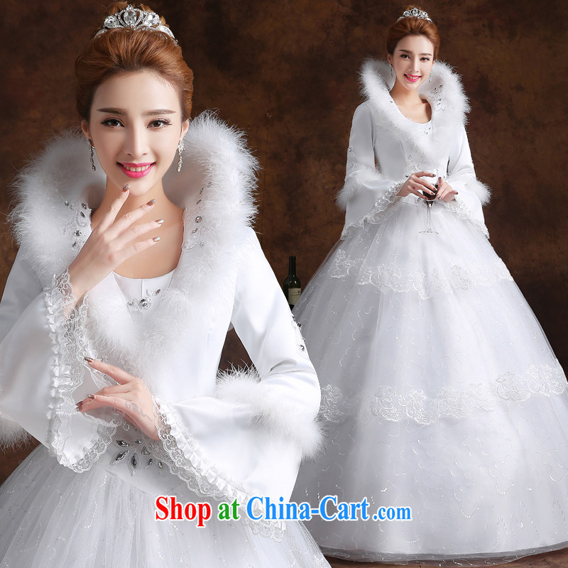 married love wedding dresses 2015 new winter long-sleeved shoulders marriages with shaggy skirts larger graphics thin autumn women white XXL