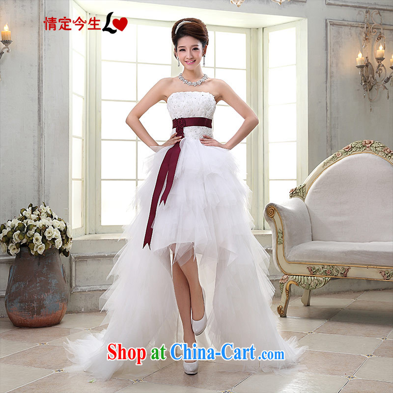 Love Life 2015 Korean sweet Princess tied with pregnant women small-tail crowsfoot wedding dresses white with bare chest-waist-Princess skirt stays short before long, S