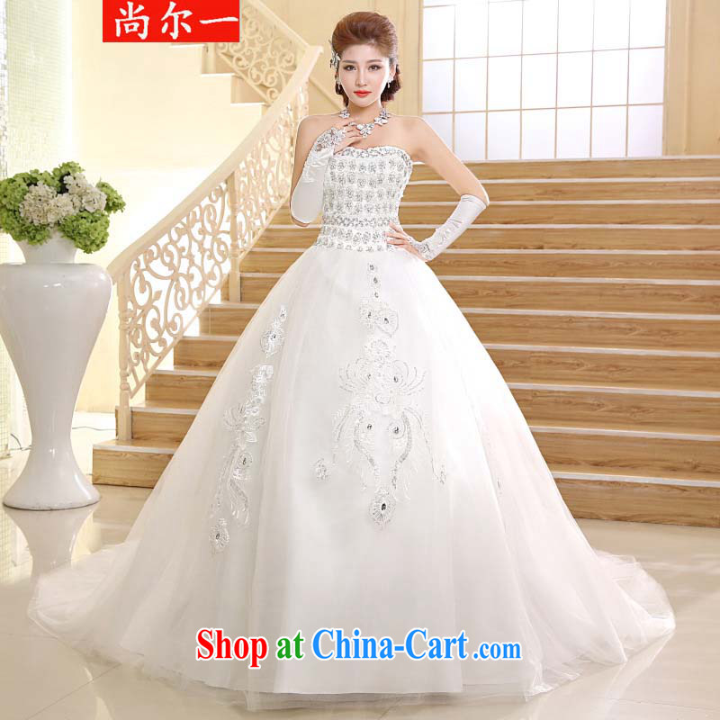 There's a big tail wedding beauty graphics thin smears chest long-tail wedding dresses XS 2410 m White XXL