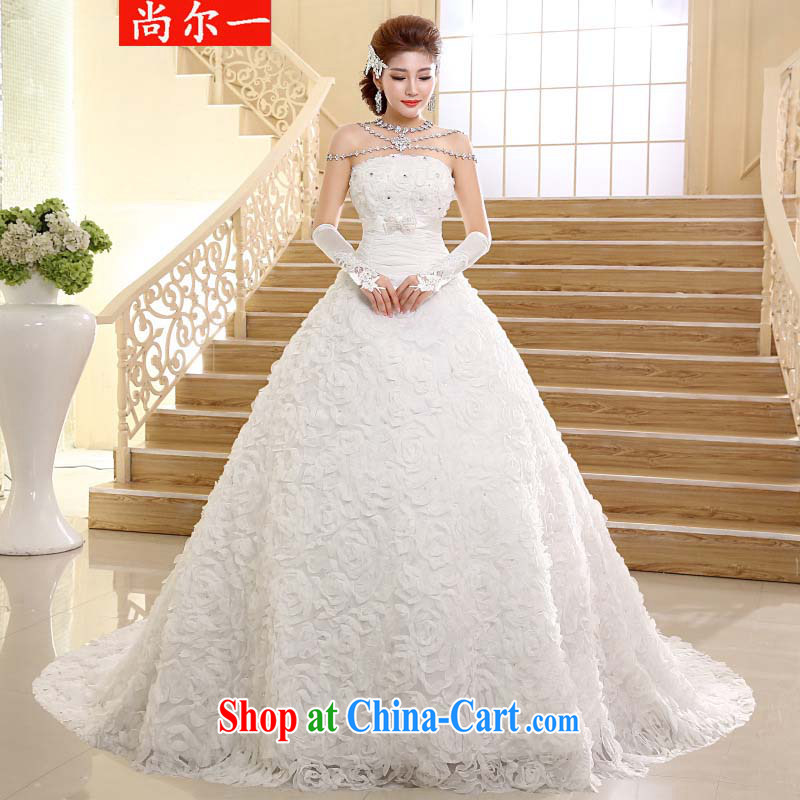 There is a new, popular wedding dresses Korean fashion wipe the chest tail drill marriages Wedding Video thin XS 2426 m White XXL