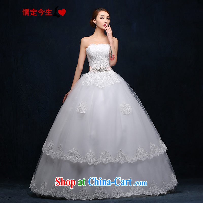 Love Mary Magdalene temporal chest wedding 2015 new Korean version with Princess to bind with white wood drill Bow Tie lace European root yarn Princess skirt stays white XXL
