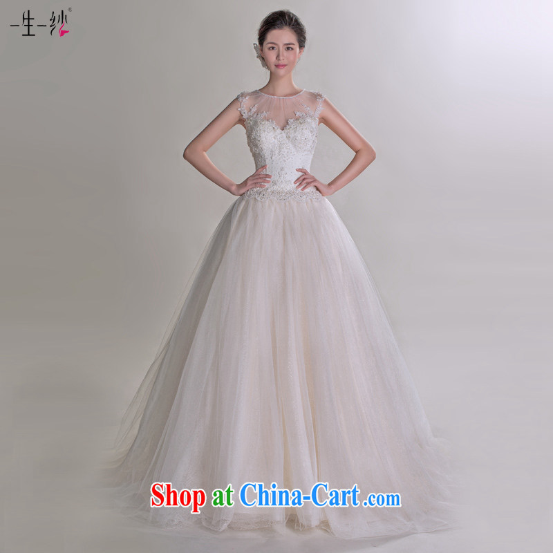 It Sylvia kyung dong fall in love with a template with wedding dresses 2015 summer Korean tie-tail retro package shoulder pregnant wedding 401501246 champagne color XXL code 30 days pre-sale