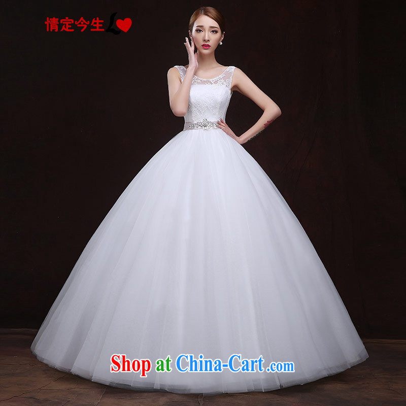 The Code love life 2015 new wedding white one shoulder parquet drilling tied with lace pregnant women with high waist and elegant the waist-wedding dress girls white XXL
