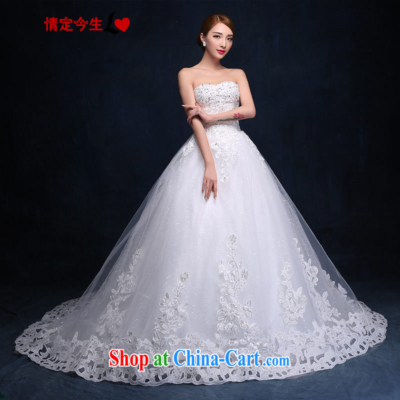 Love Mary Magdalene temporal chest-tail wedding dresses 2015 new parquet drill lace tie-colorful Princess gifts received back video thin wedding dress girls white XXL