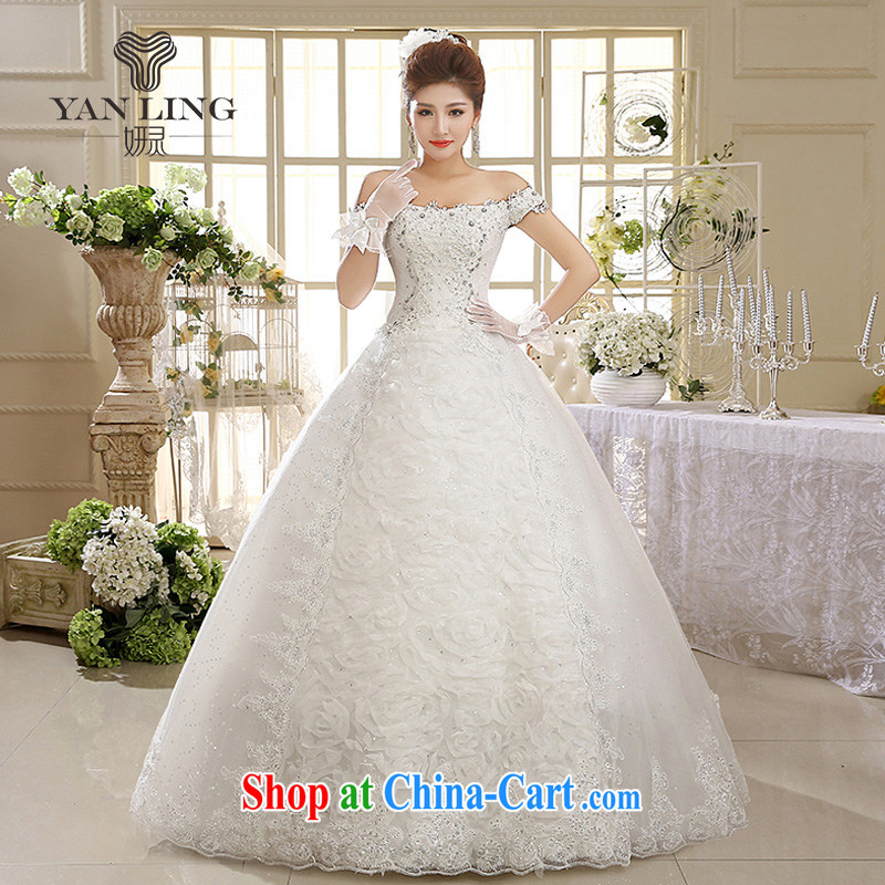 2015 New White Dress wedding dresses wedding season Korean field shoulder retro lace HS paragraph 595 meters white S