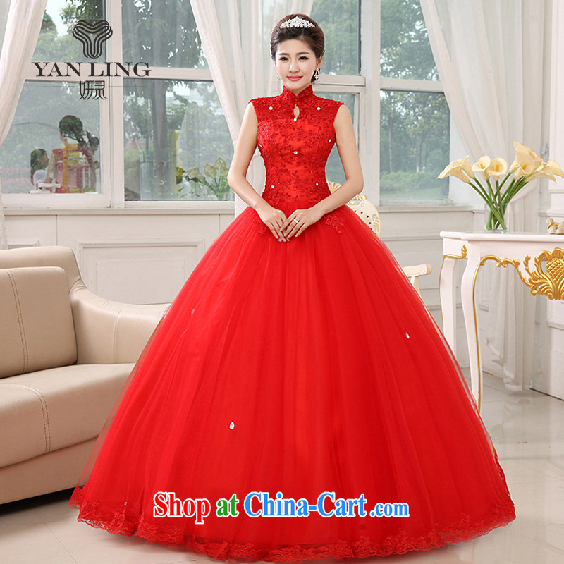 2015 New Red wedding dresses bridal with graphics thin package shoulder lace retro tie-down the Code HS 348 red S