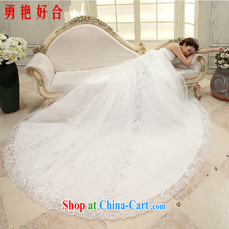 Yong-yan and wedding dresses new 2015 erase chest Korean tail wedding video thin water drill large tail white sweet wedding white tail XL