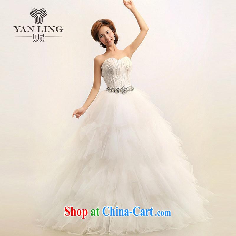2015 new Korean Korean feather wiped chest Princess marriages wedding dresses HS 164 white XXL