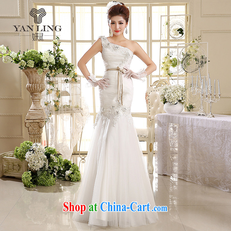 2015 wedding dresses new Korean Princess single shoulder strap wedding dresses crowsfoot wedding HS 582 white XXL