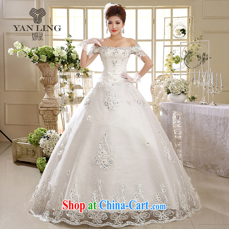 2015 wedding dresses new 2014 Korean wedding a shoulder to align graphics thin Korean-style straps HS 593 white S