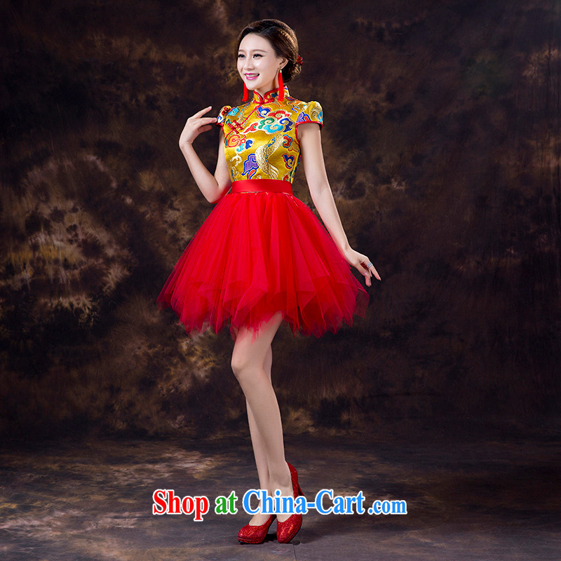 Mr. where Yu according to 2015 new short Chinese qipao improved bridal toast clothing fashion bridal dresses red dress shirt yellow the skirt red short-sleeve S