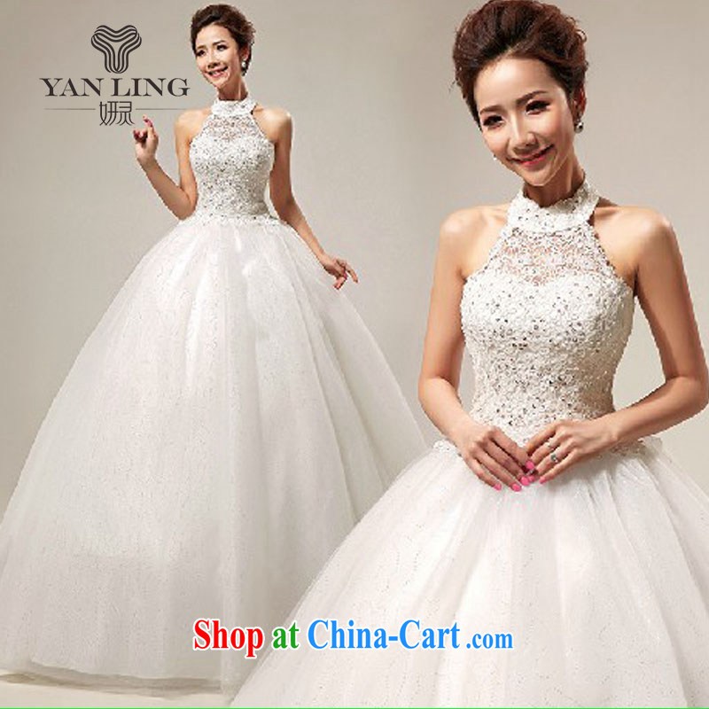 2015 wedding dresses new Korean sweet lace-up princess also wedding dresses with straps, HS 289 white XL