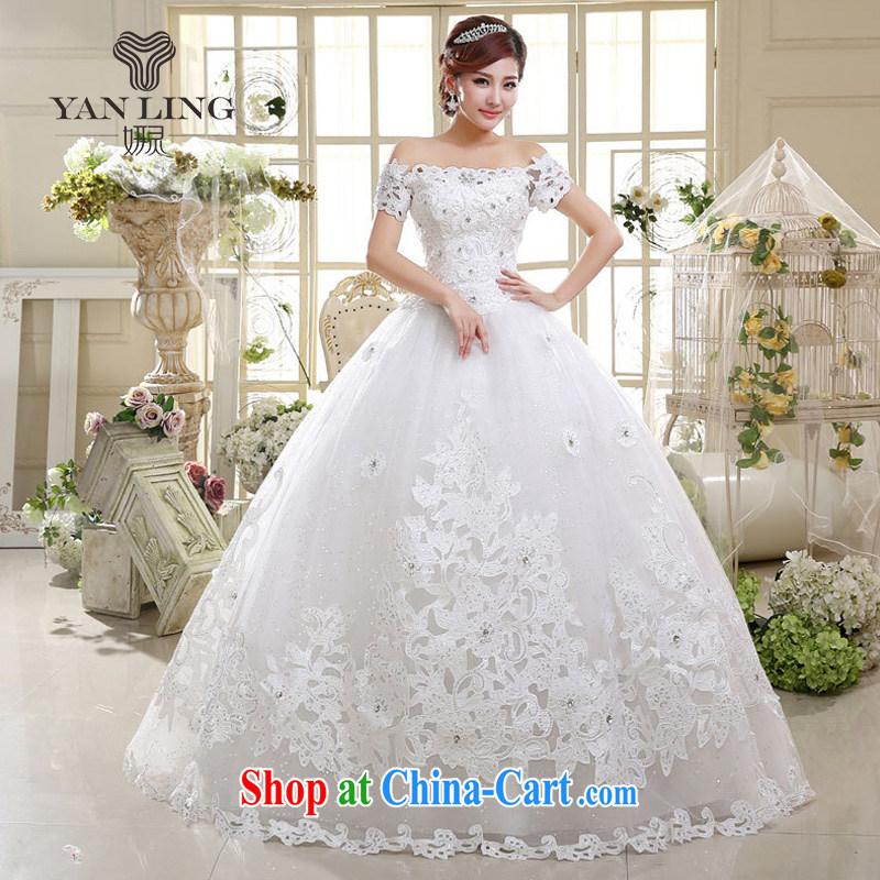 2015 wedding dresses New Trim new strap with a shoulder shaggy dress Princess bride wedding HS 598 white M