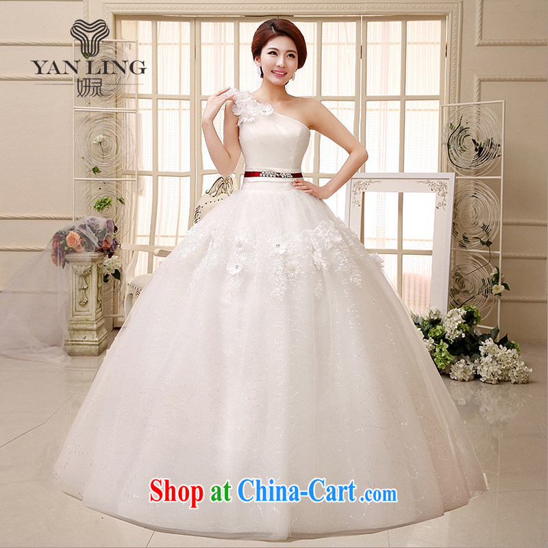 2015 new wedding dresses, shoulder shaggy dress small-xin stylish manual flowers with wedding HS 522 white S