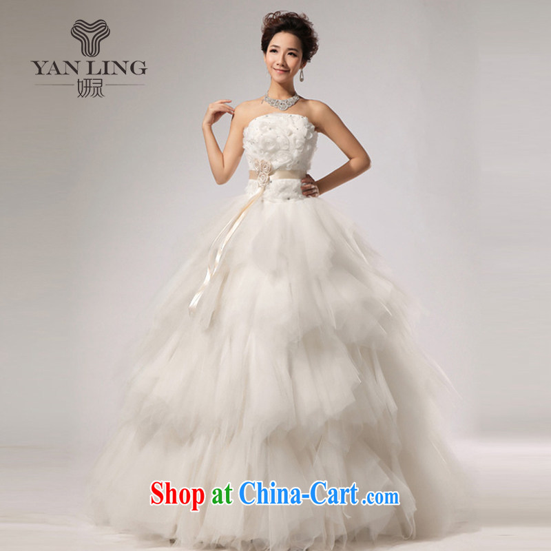 2015 New VERY WANG retro elegant sweet Mary Magdalene chest stylish wedding white L