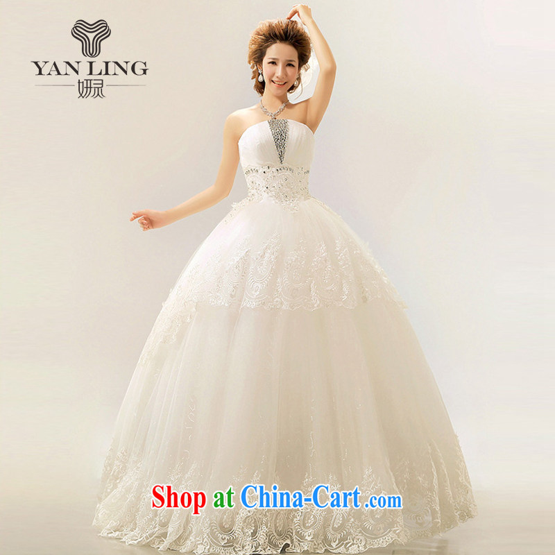 2015 New royal lace Korean chest bare tail Princess bride wedding Royal White XL