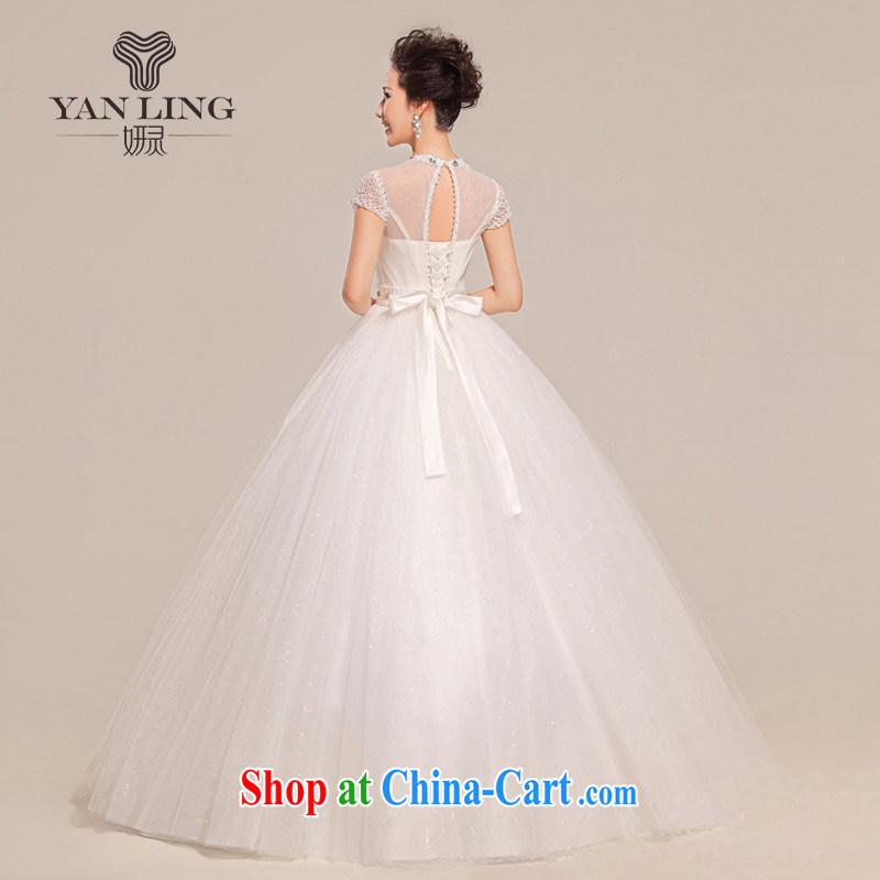 2015 new spring and summer wedding dresses short-sleeved grid package shoulder shaggy with a shoulder wedding HS 312 white XXL, her spirit, and shopping on the Internet