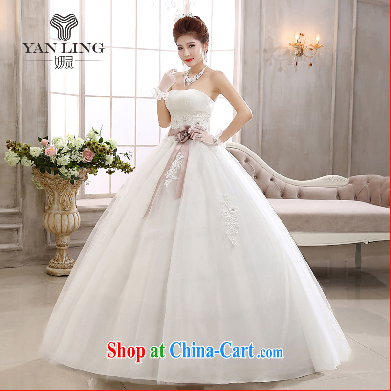 2015 new spring white bare chest bridal with bowtie pregnant women married stylish wedding dresses HS 558 white XXL