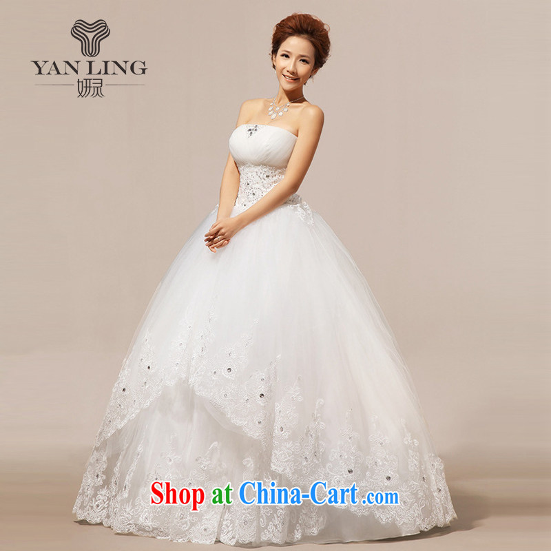2015 new winter wedding wedding erase chest Korean wedding dresses wedding dresses with HS 237 white L