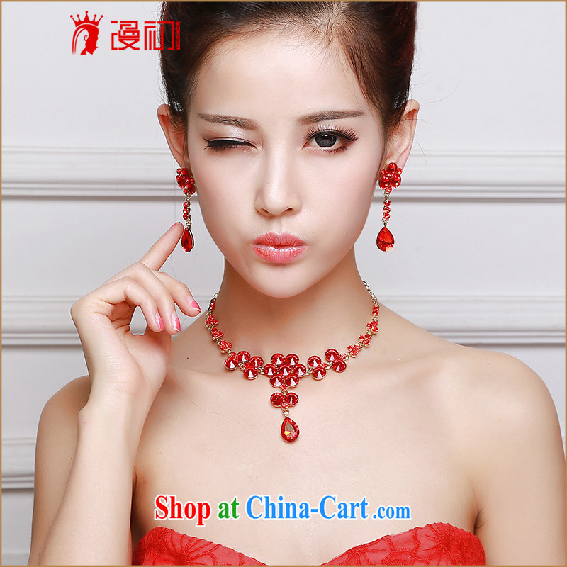 Early definition 2015 new Chinese bridal necklace earrings set wedding jewelry red marriage mandatory supplies red quality assurance