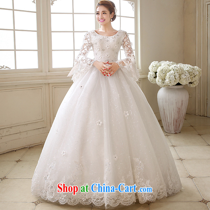 Marriage true love wedding dresses 2015 new Korean-style marriages red long-sleeved alignment to bind with the Code graphics thin winter clothes white XXL